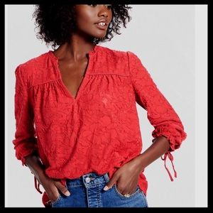 NWT Lucky Brand Clip Jacquard Peasant Top